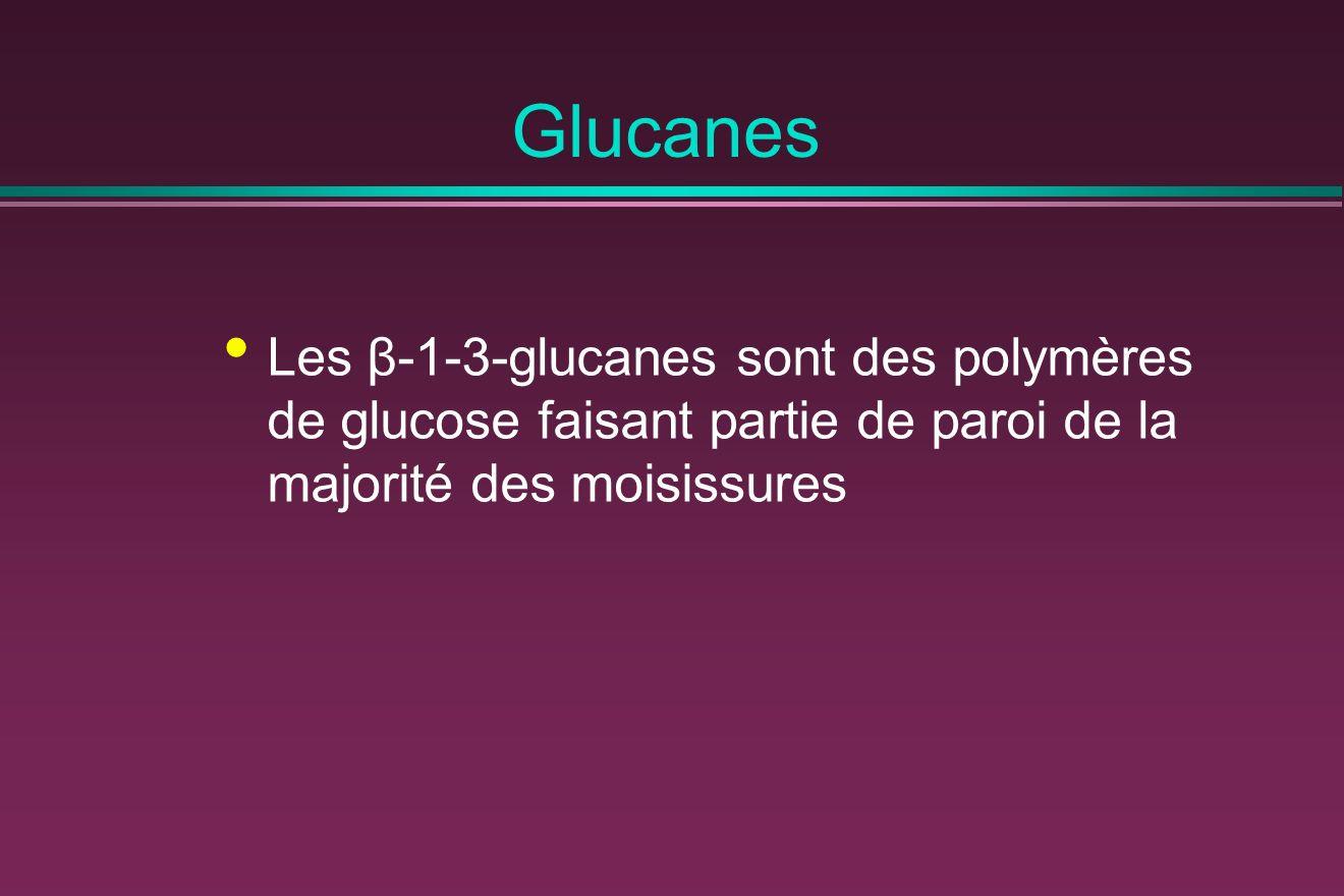 Glucanes Les β-1-3-glucanes sont des polymères de glucose faisant partie de paroi de la majorité des moisissures.