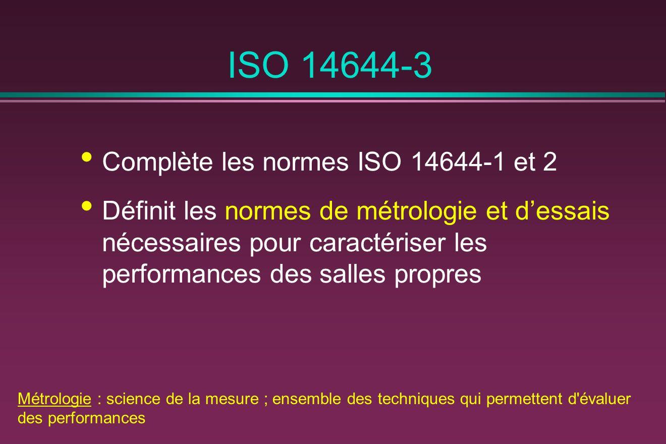 ISO 14644-3 Complète les normes ISO 14644-1 et 2