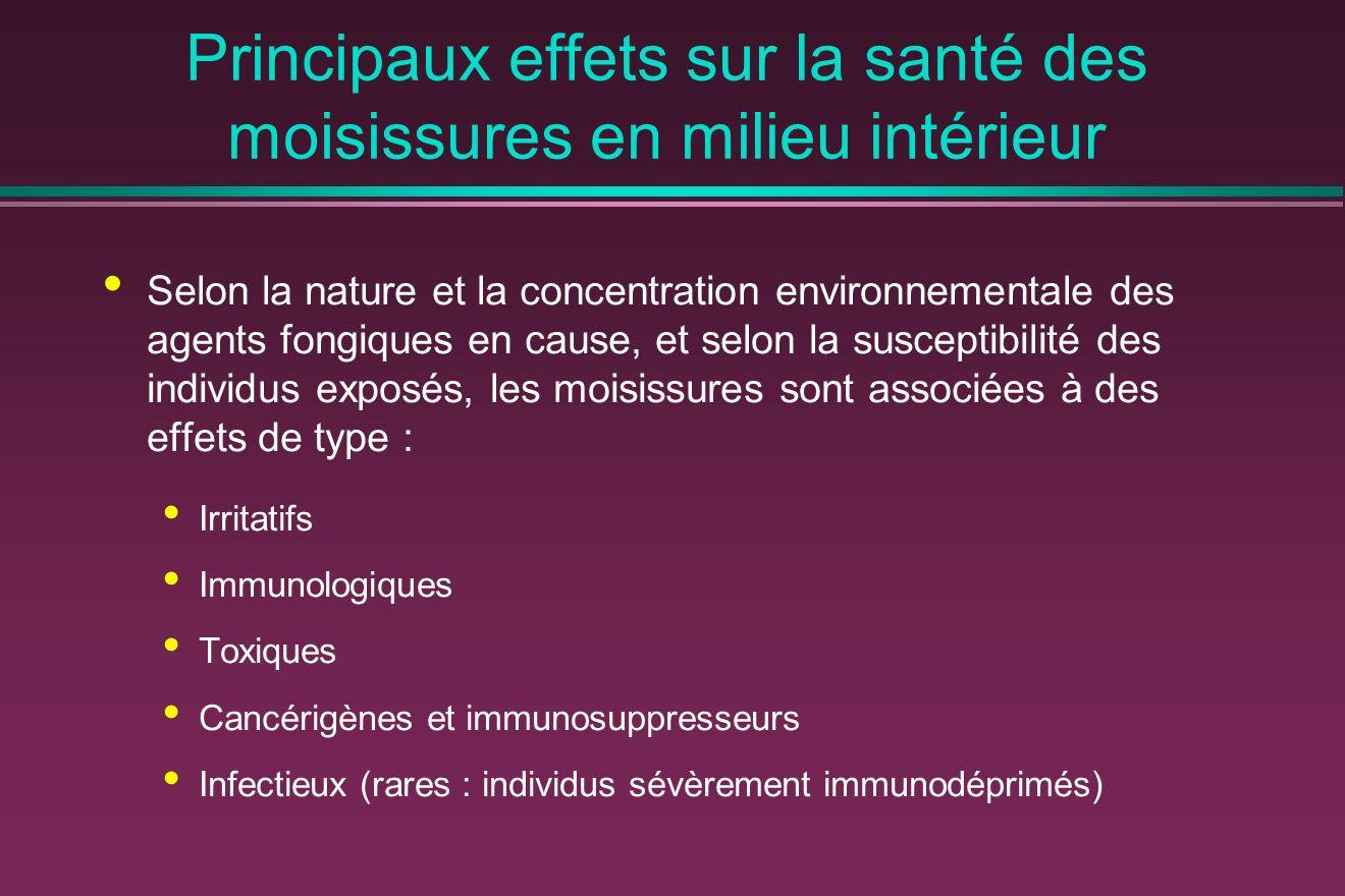 Principaux effets sur la santé des moisissures en milieu intérieur