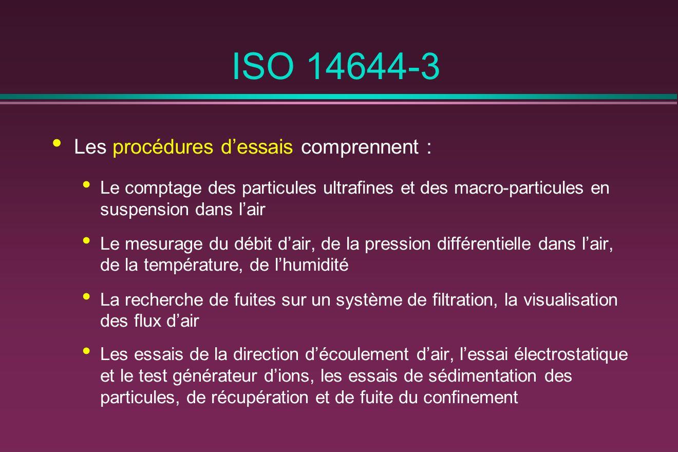 ISO 14644-3 Les procédures d'essais comprennent :