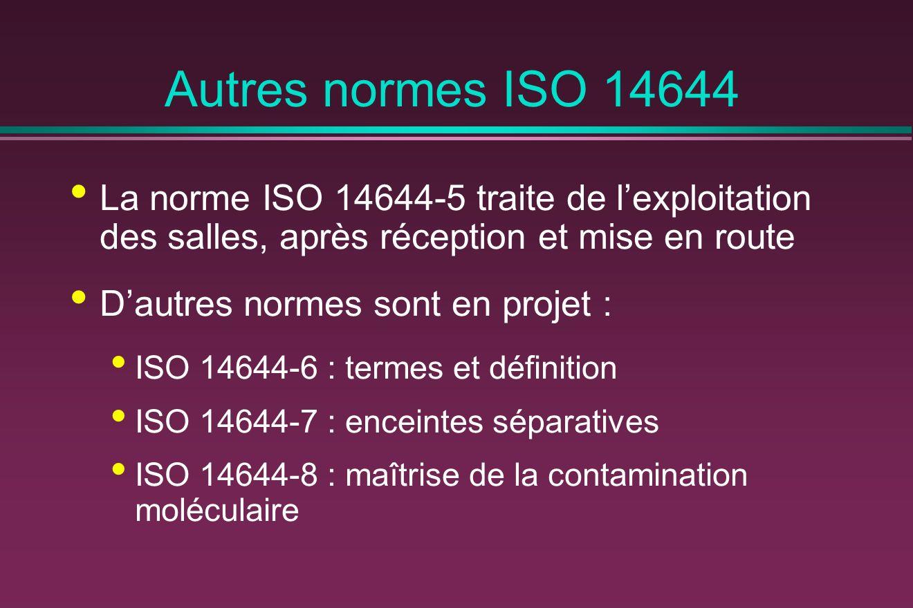 Autres normes ISO 14644 La norme ISO 14644-5 traite de l'exploitation des salles, après réception et mise en route.