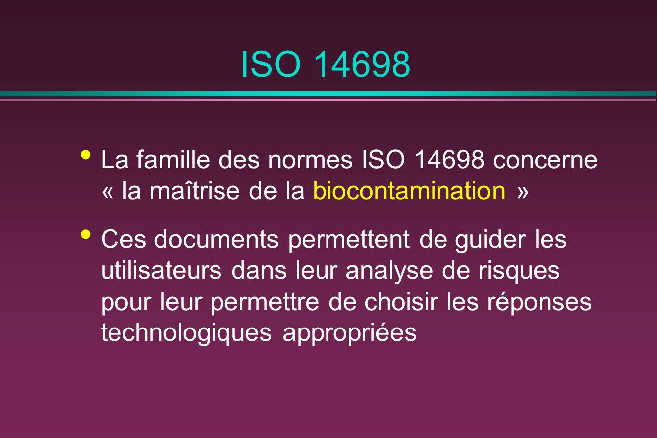 ISO 14698 La famille des normes ISO 14698 concerne « la maîtrise de la biocontamination »