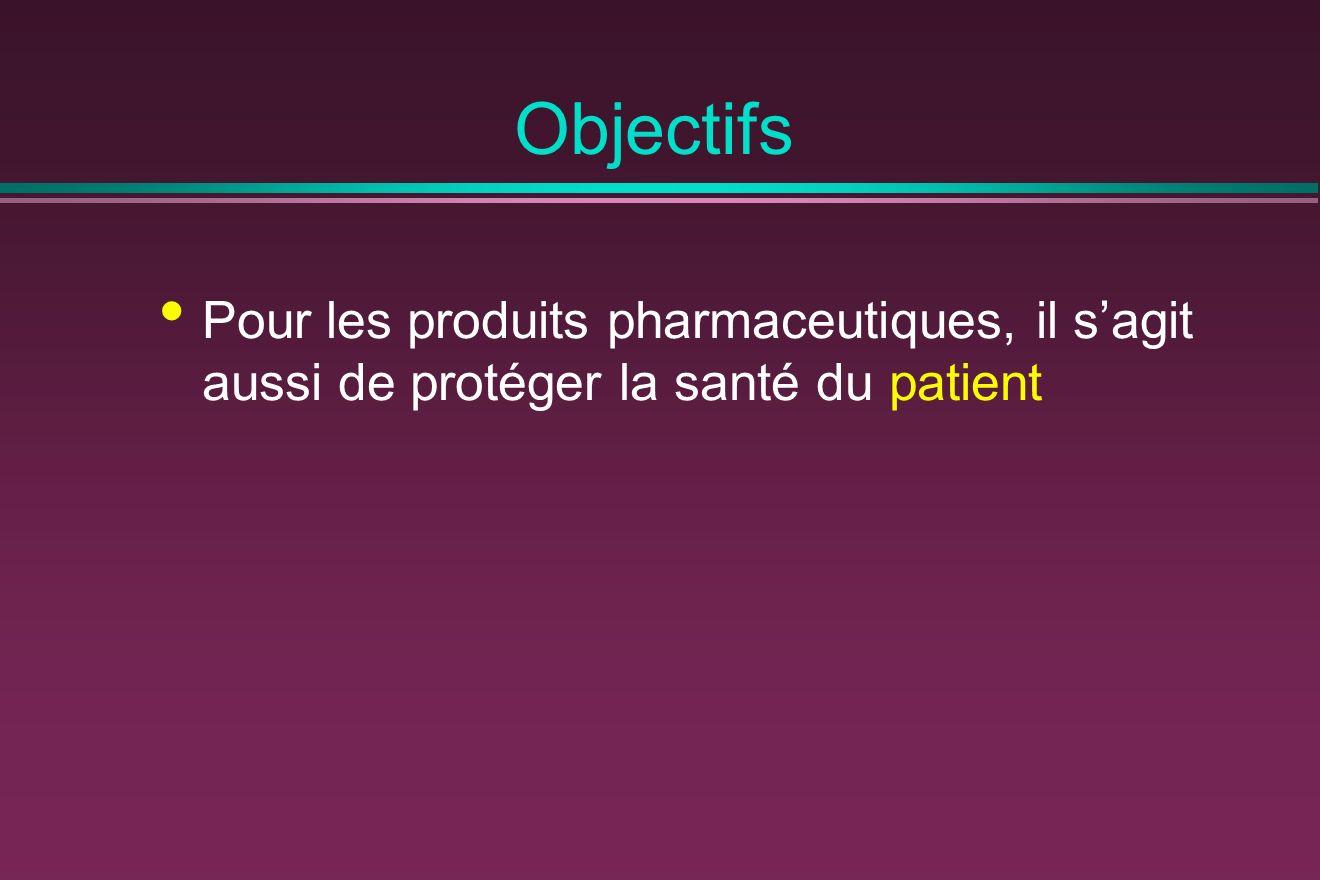 Objectifs Pour les produits pharmaceutiques, il s'agit aussi de protéger la santé du patient
