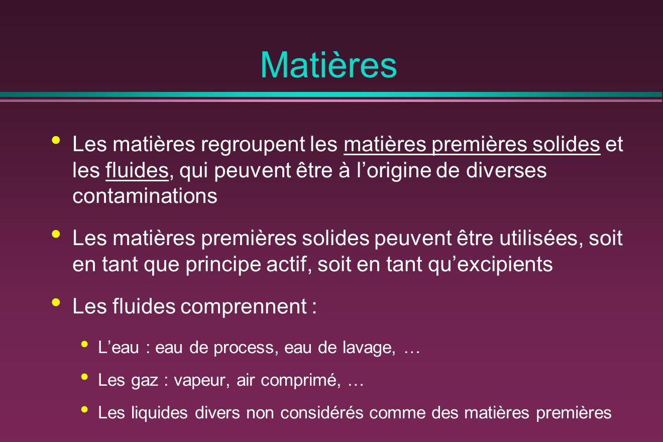 Matières Les matières regroupent les matières premières solides et les fluides, qui peuvent être à l'origine de diverses contaminations.