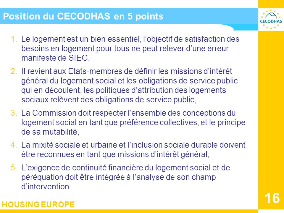 Position du CECODHAS en 5 points