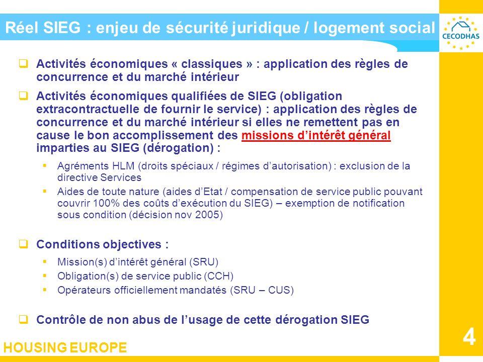 Réel SIEG : enjeu de sécurité juridique / logement social