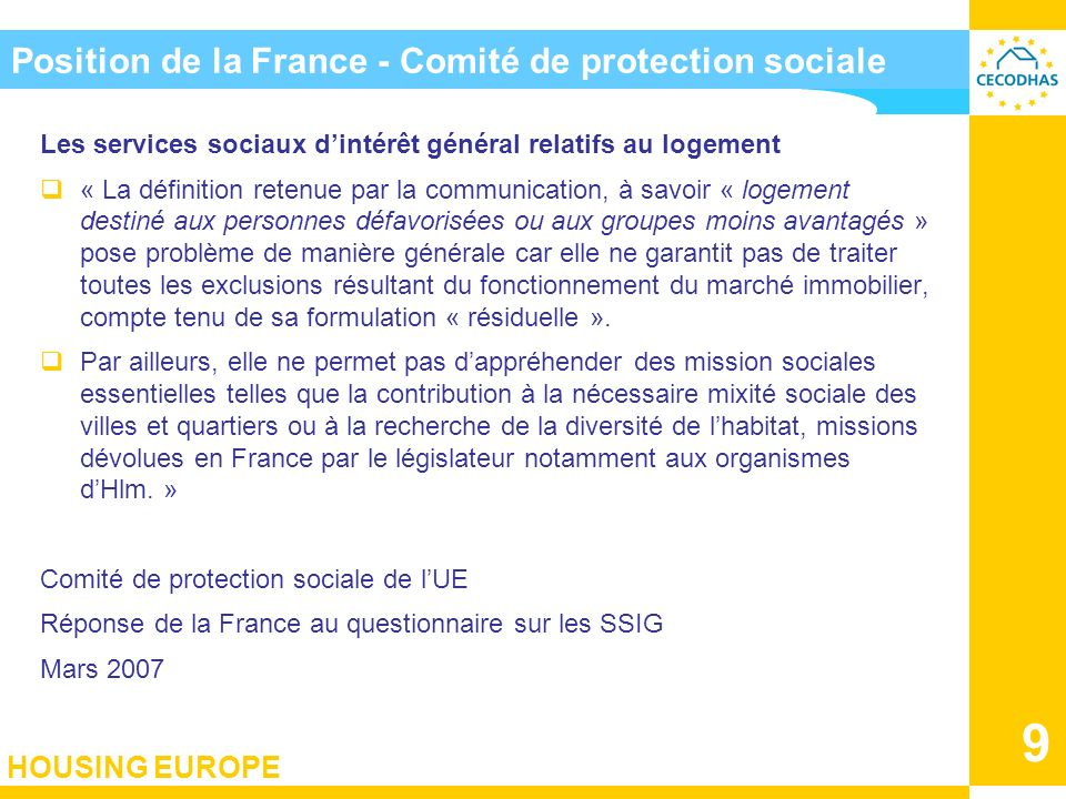 Position de la France - Comité de protection sociale
