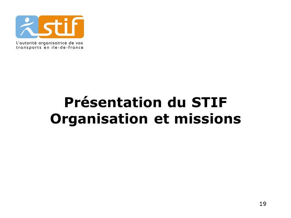 Présentation du STIF Organisation et missions
