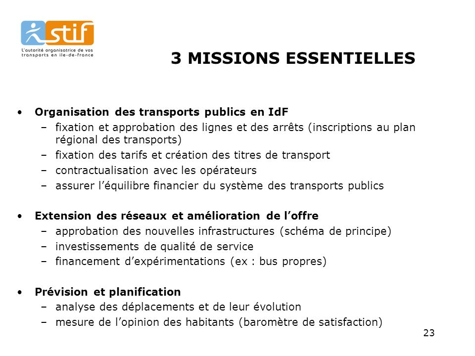 3 MISSIONS ESSENTIELLES