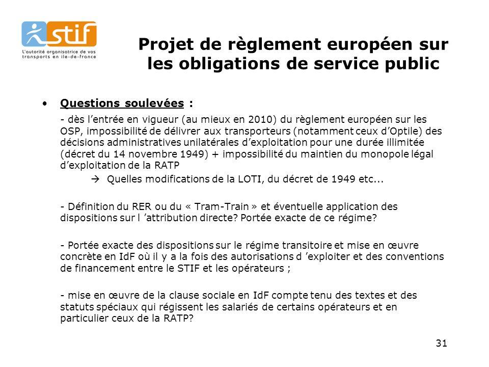 Projet de règlement européen sur les obligations de service public