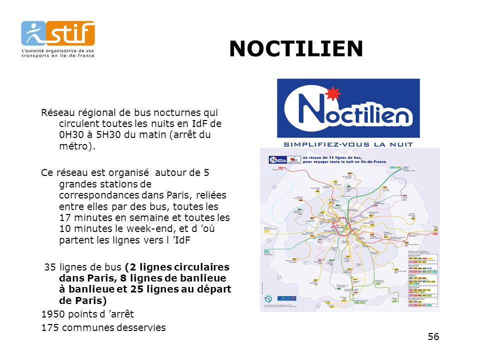 NOCTILIEN Réseau régional de bus nocturnes qui circulent toutes les nuits en IdF de 0H30 à 5H30 du matin (arrêt du métro).