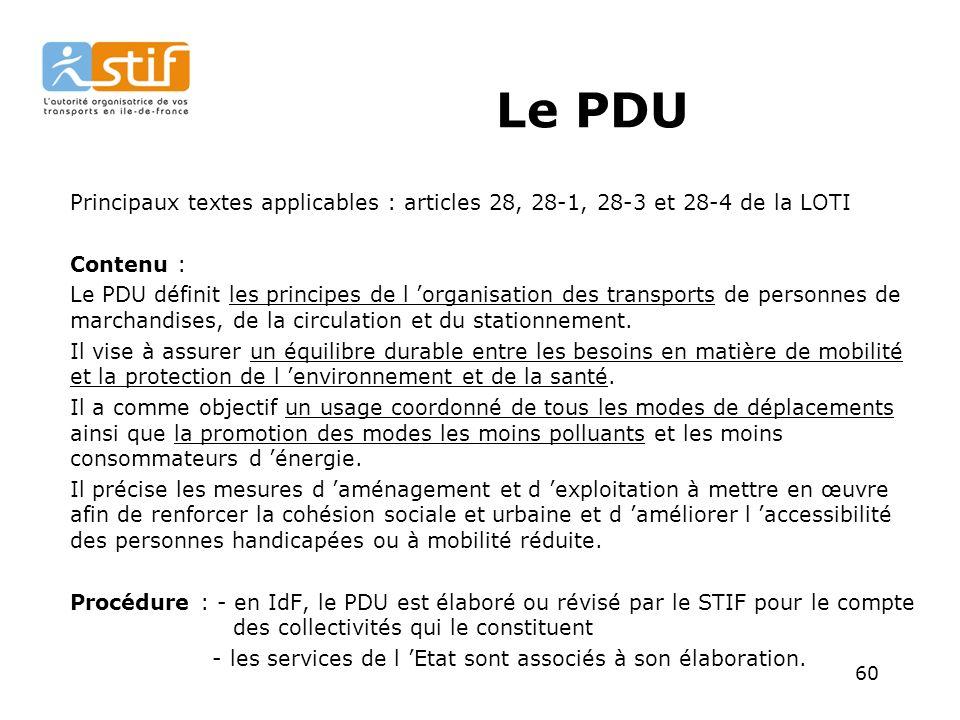 Le PDU Principaux textes applicables : articles 28, 28-1, 28-3 et 28-4 de la LOTI. Contenu :