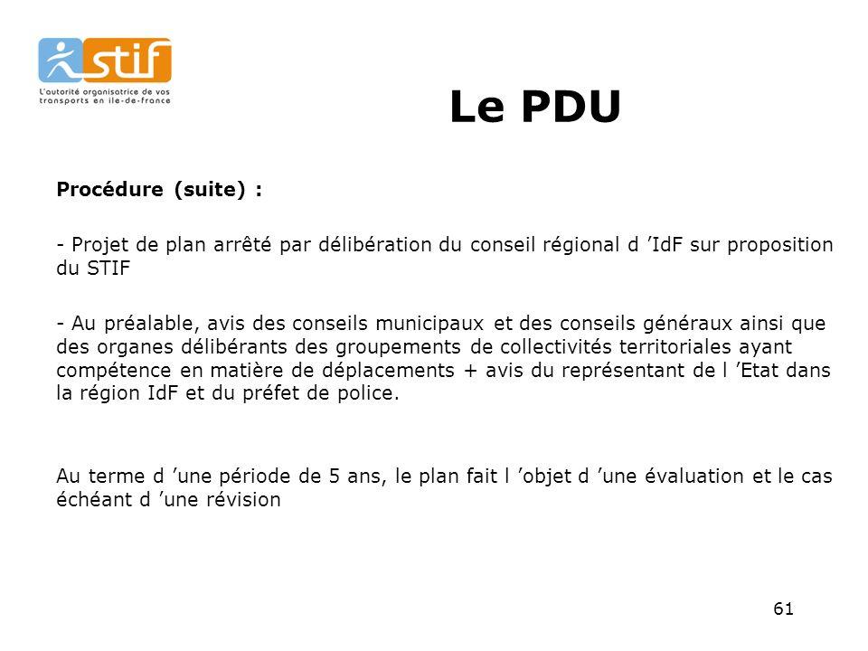 Le PDU Procédure (suite) :
