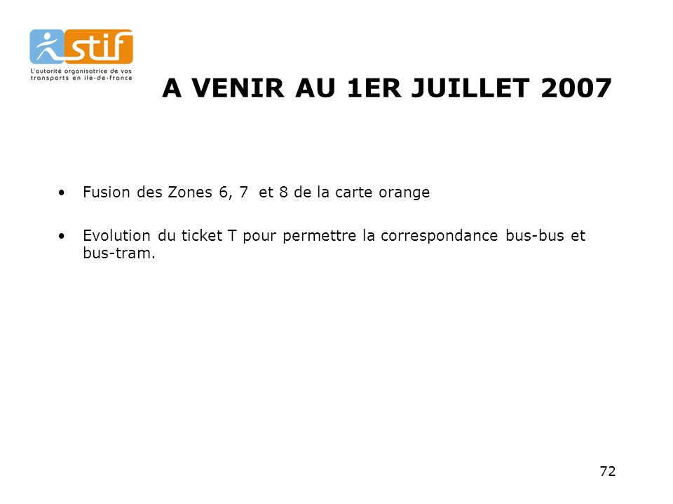 A VENIR AU 1ER JUILLET 2007 Fusion des Zones 6, 7 et 8 de la carte orange.