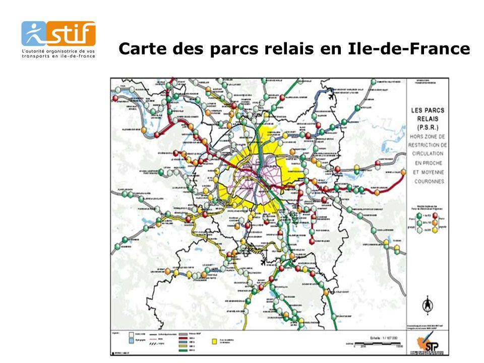 Carte des parcs relais en Ile-de-France