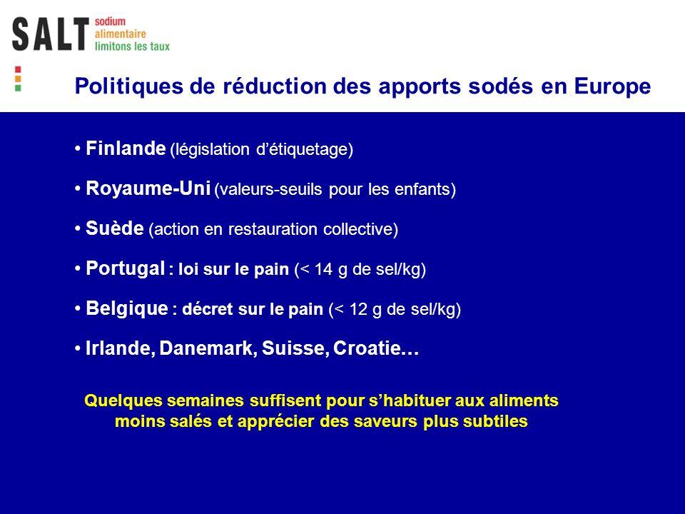 Politiques de réduction des apports sodés en Europe