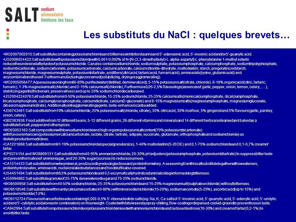 Les substituts du NaCl : quelques brevets…