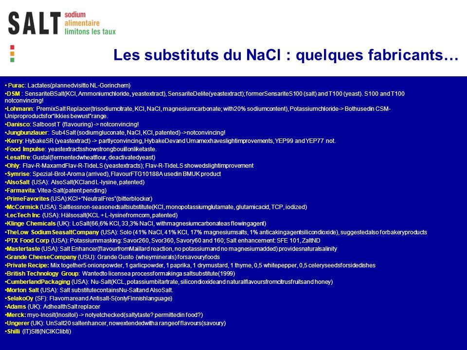 Les substituts du NaCl : quelques fabricants…