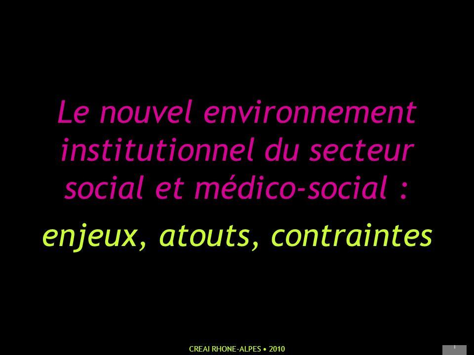 Le nouvel environnement institutionnel du secteur social et médico-social : enjeux, atouts, contraintes