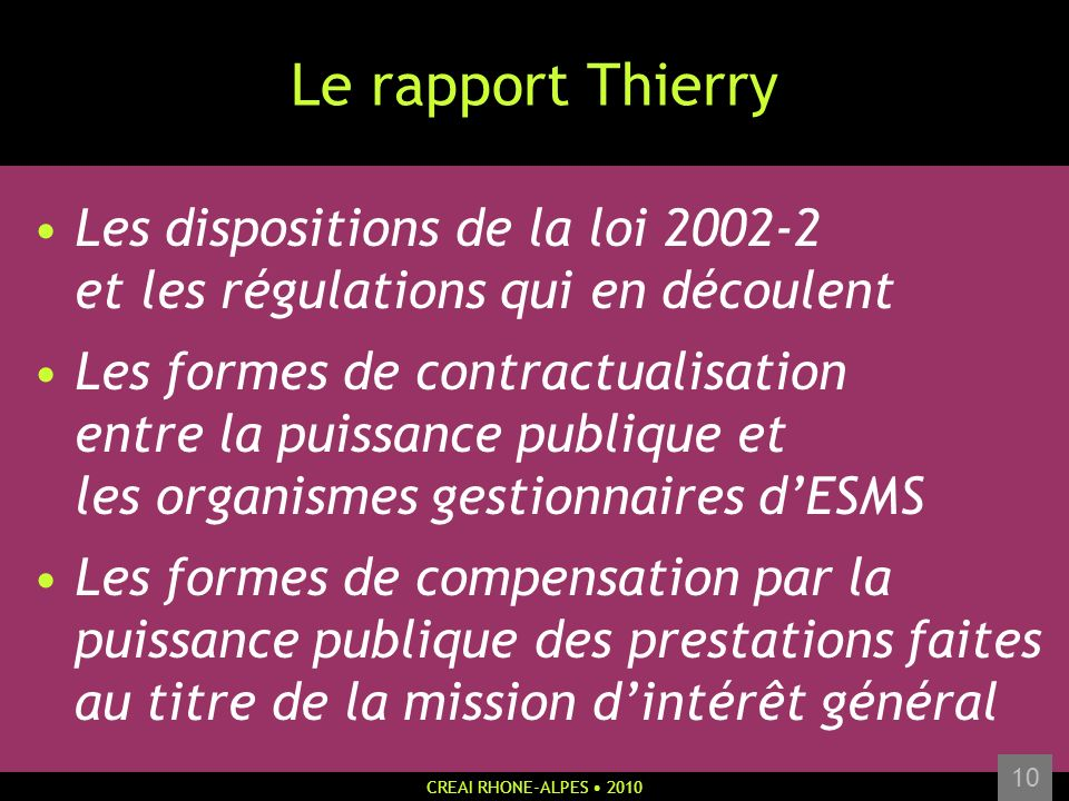 Le rapport Thierry