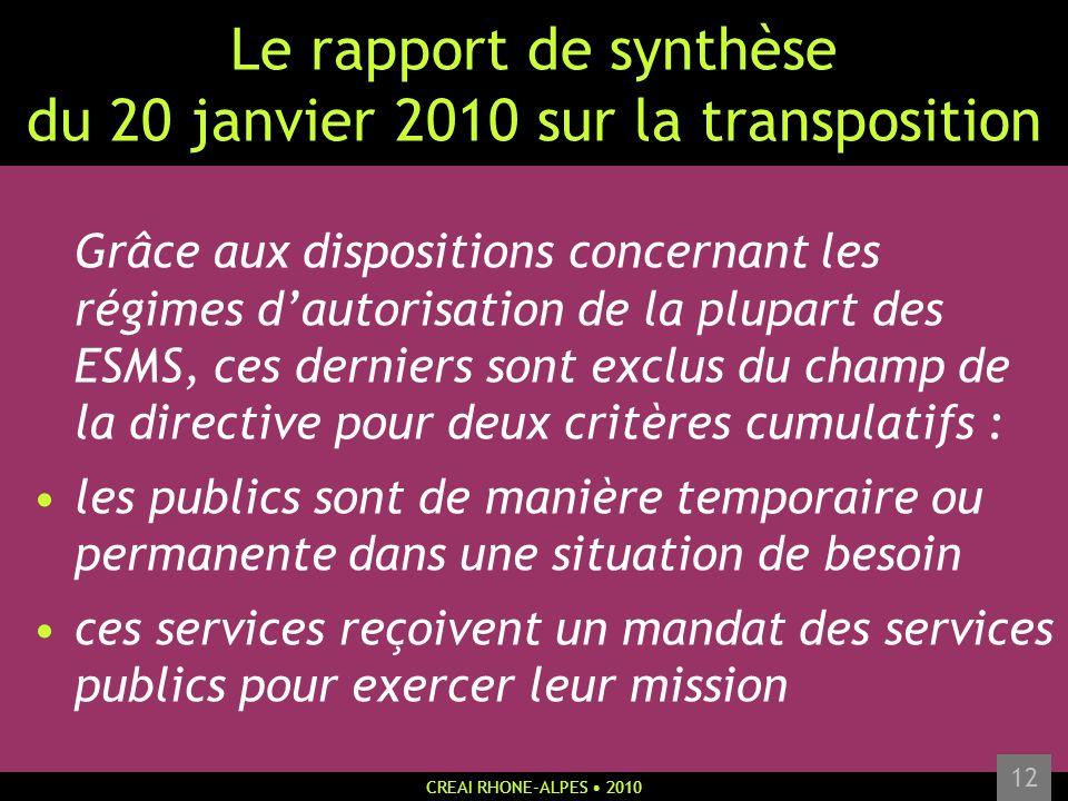 Le rapport de synthèse du 20 janvier 2010 sur la transposition