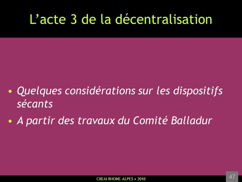L'acte 3 de la décentralisation