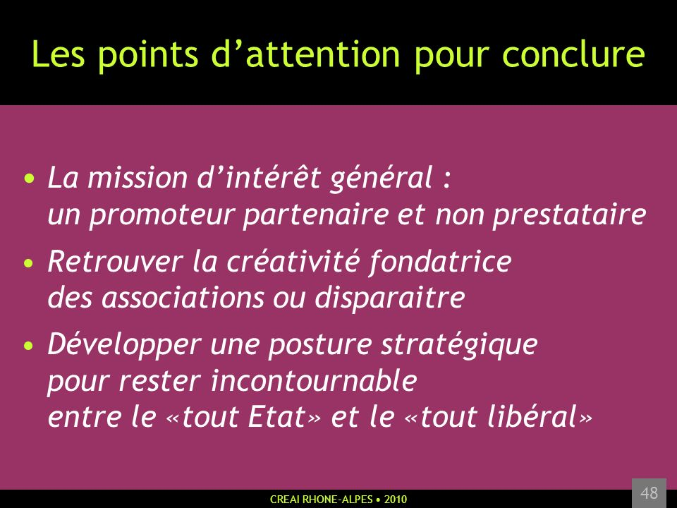 Les points d'attention pour conclure