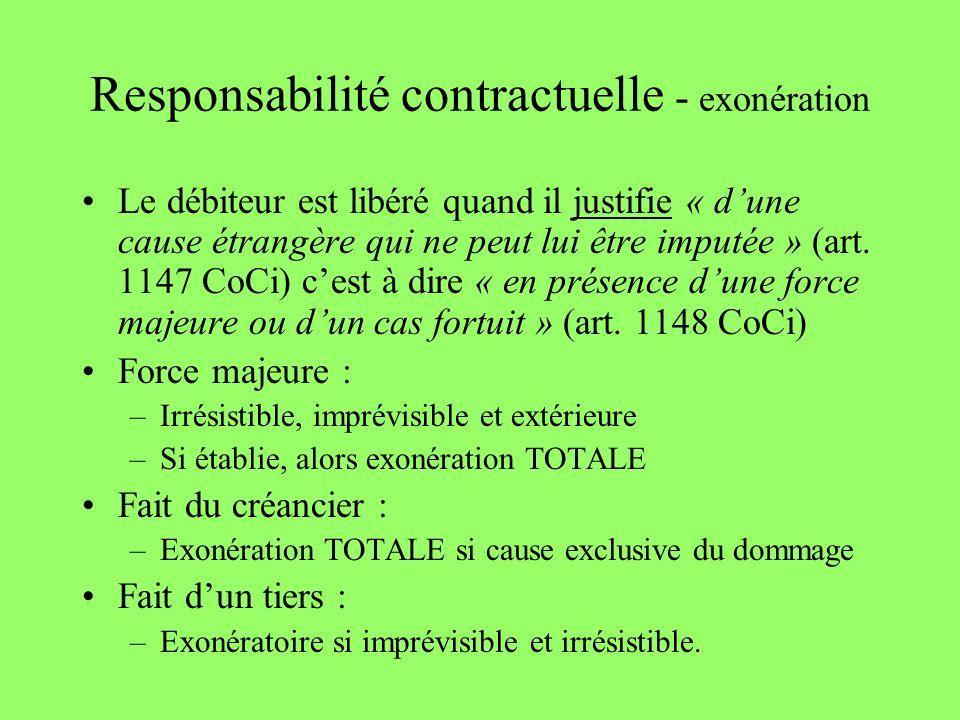 Responsabilité contractuelle - exonération