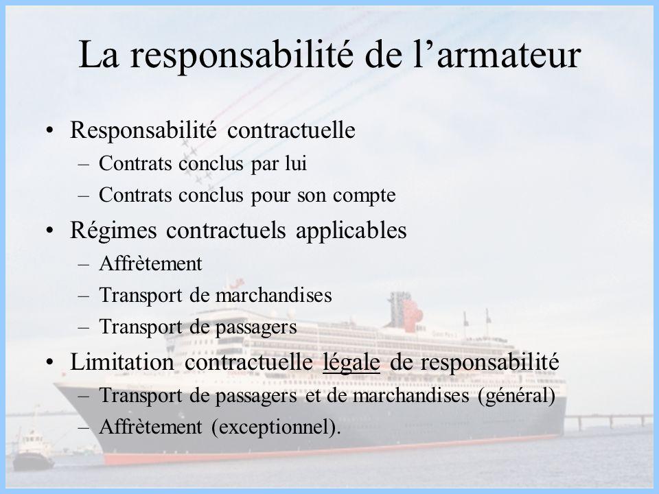 La responsabilité de l'armateur