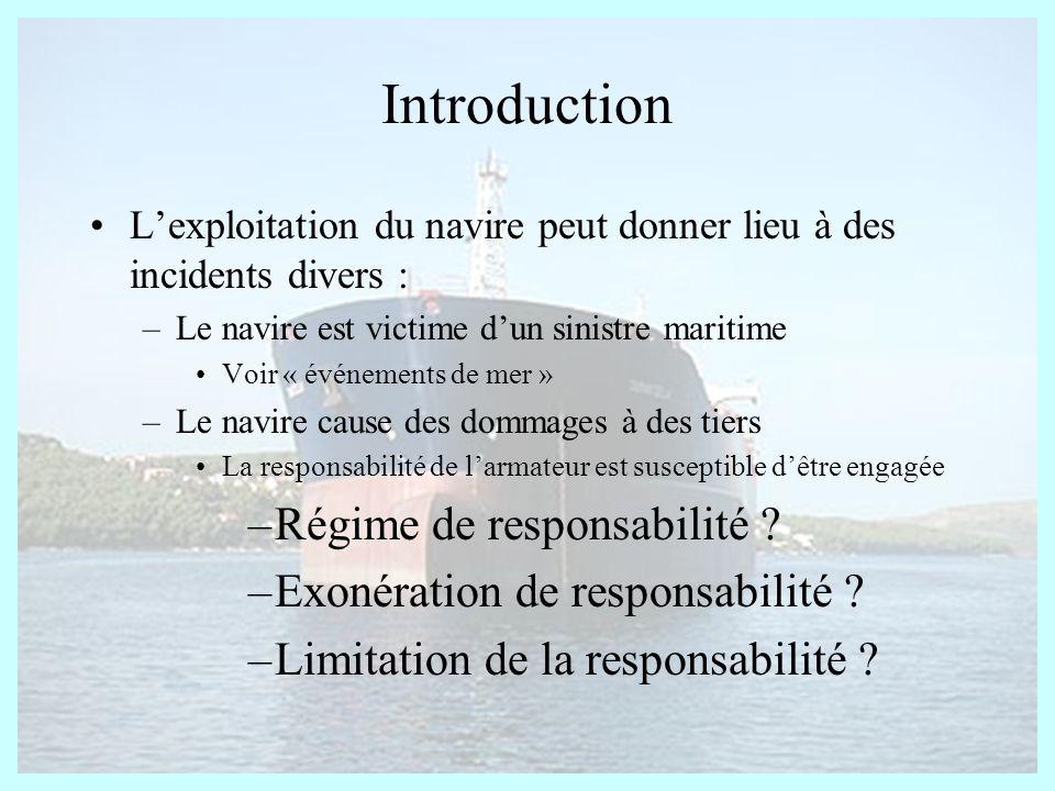 Introduction Régime de responsabilité