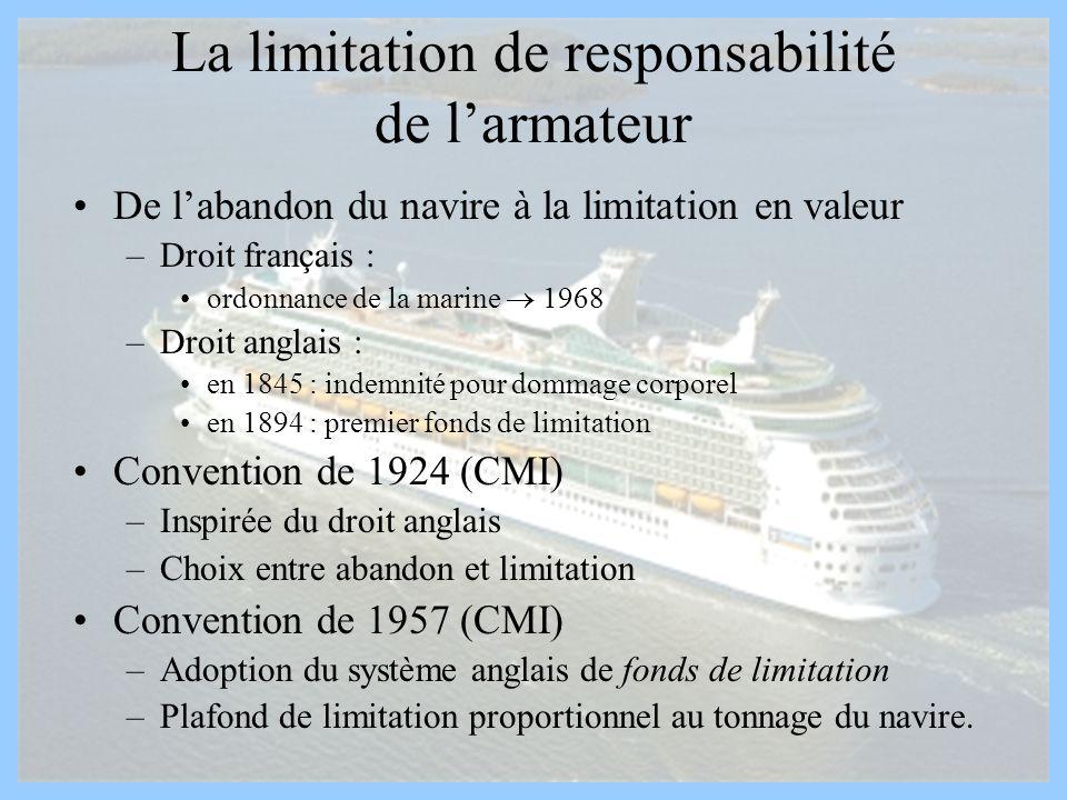 La limitation de responsabilité de l'armateur