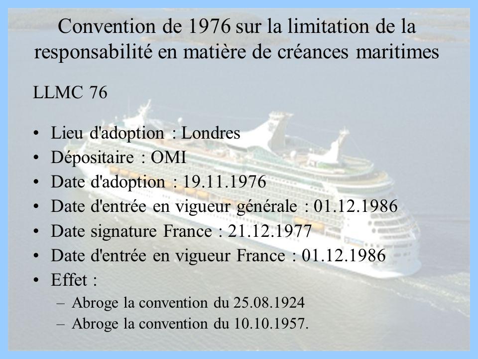 Convention de 1976 sur la limitation de la responsabilité en matière de créances maritimes