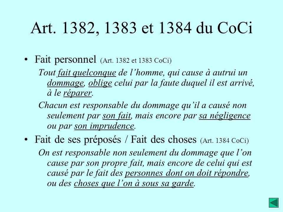 Art. 1382, 1383 et 1384 du CoCi Fait personnel (Art. 1382 et 1383 CoCi)