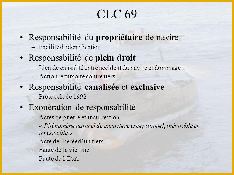 CLC 69 Responsabilité du propriétaire de navire