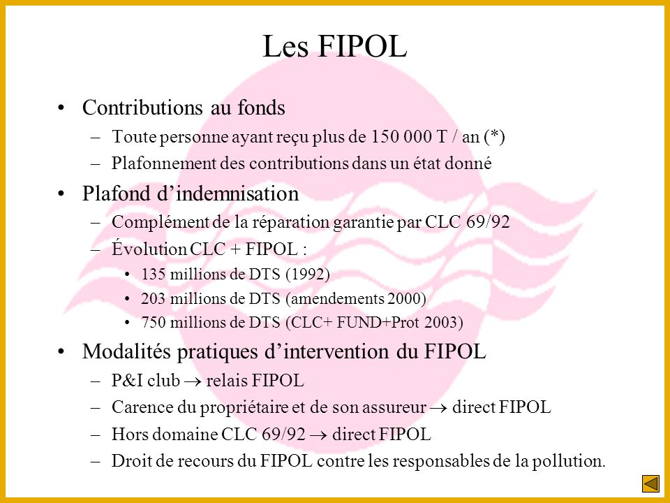 Les FIPOL Contributions au fonds Plafond d'indemnisation