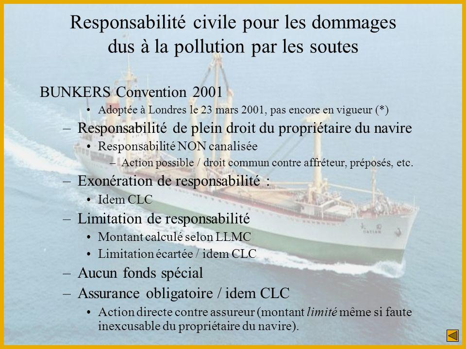 Responsabilité civile pour les dommages dus à la pollution par les soutes
