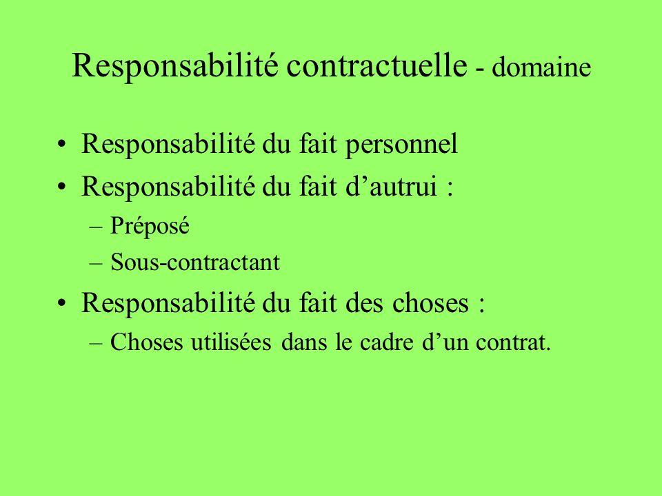 Responsabilité contractuelle - domaine