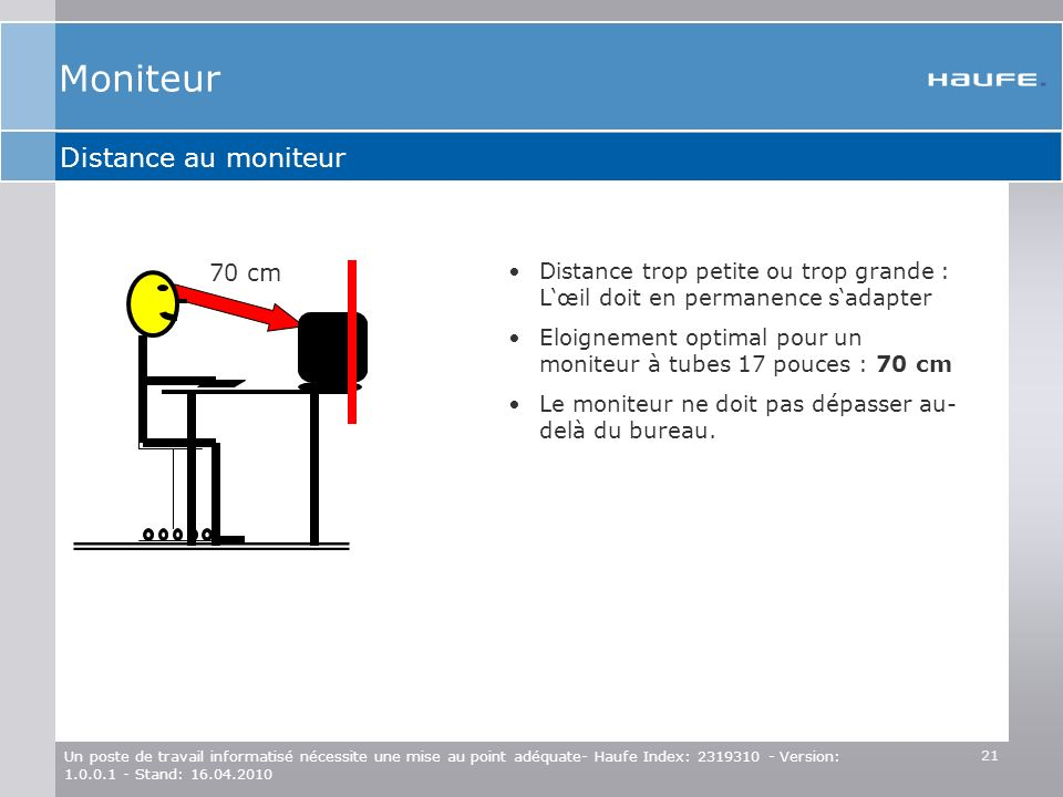Moniteur Distance au moniteur 70 cm