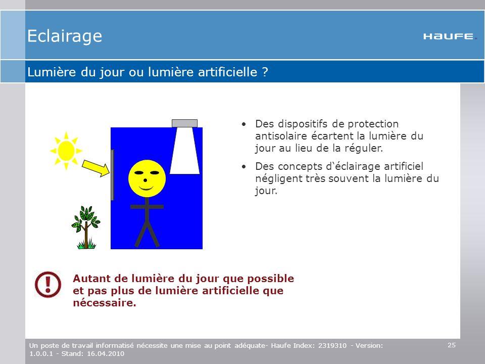 Eclairage ( ( Lumière du jour ou lumière artificielle