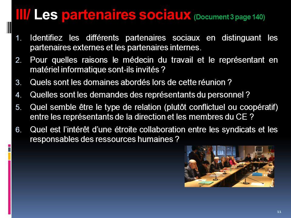 III/ Les partenaires sociaux (Document 3 page 140)