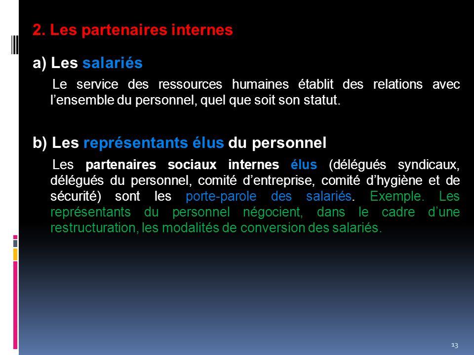 2. Les partenaires internes a) Les salariés
