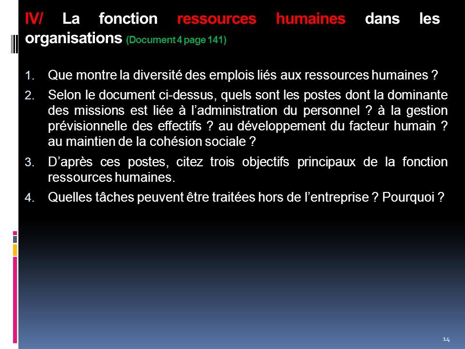 IV/ La fonction ressources humaines dans les organisations (Document 4 page 141)
