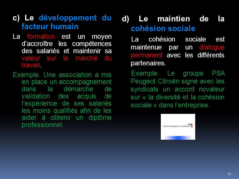 c) Le développement du facteur humain