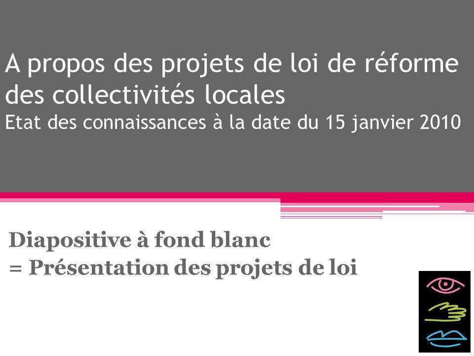 Diapositive à fond blanc = Présentation des projets de loi