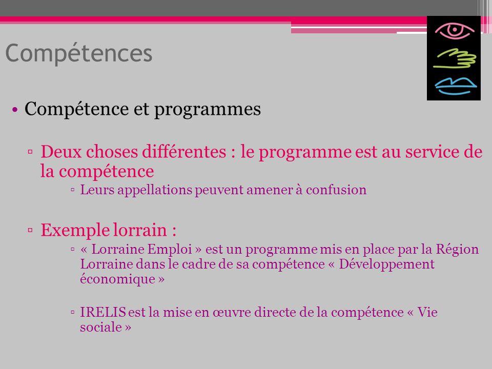 Compétences Compétence et programmes