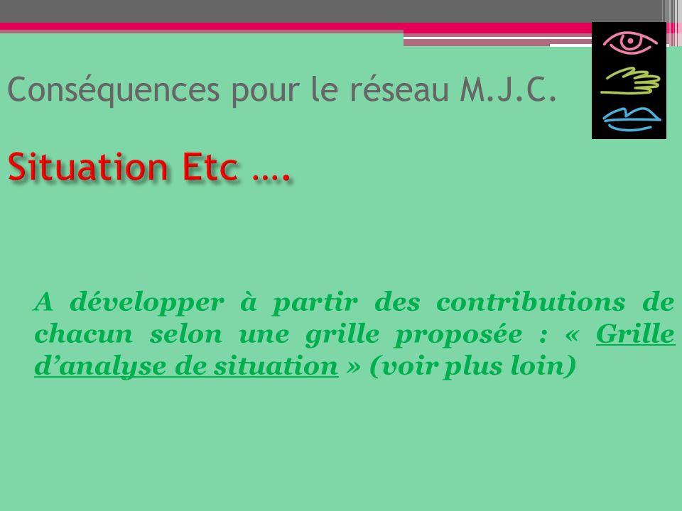 Conséquences pour le réseau M.J.C.