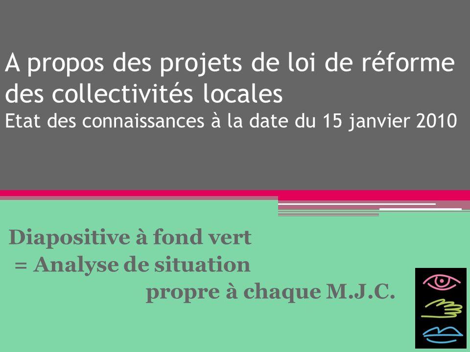 Diapositive à fond vert = Analyse de situation propre à chaque M.J.C.