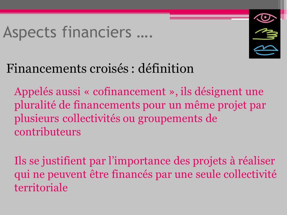 Aspects financiers …. Financements croisés : définition