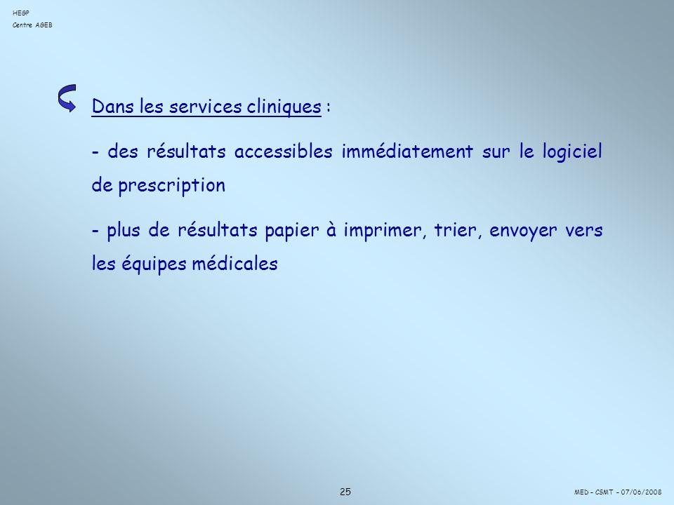 Dans les services cliniques :