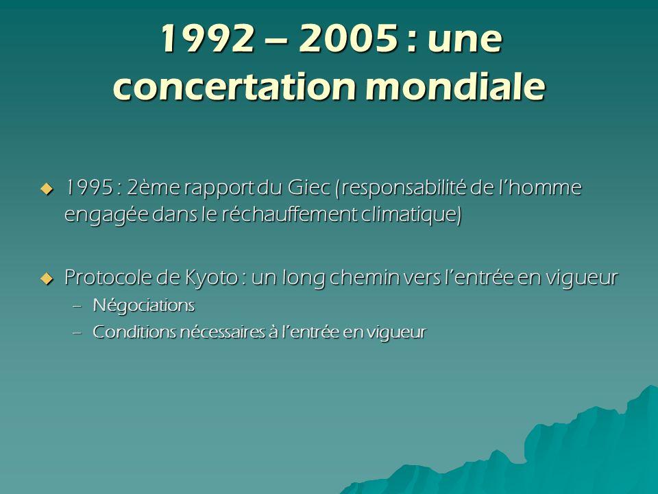 1992 – 2005 : une concertation mondiale